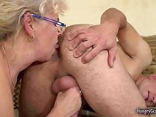 Horny Blonde Granny Fucked by a Stud