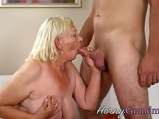 Blonde granny takes cum