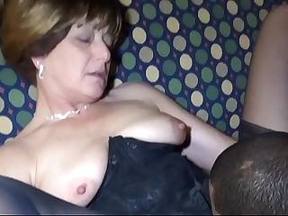 Black guy fucks stellar White Brunette Granny
