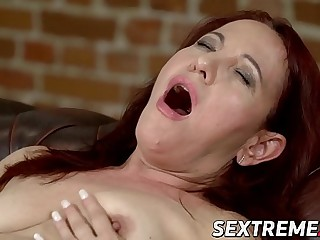 Granny Red Mary earns facial after railing hard shaft