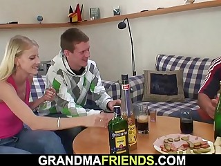 Boozed blonde grandmother takes ?2 cocks
