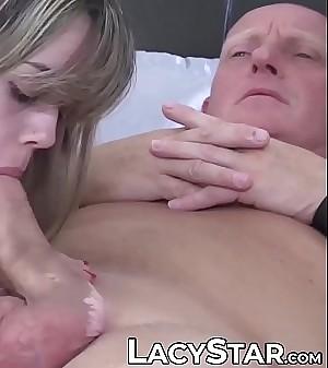 Luscious stunner sucks dick before old vs young threeway