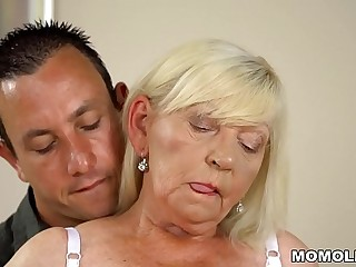Hairy granny pussy banged hard