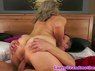 Busty grandma in lingerie fucked by youthful guy