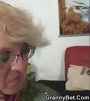 Old granny pleases an young stranger