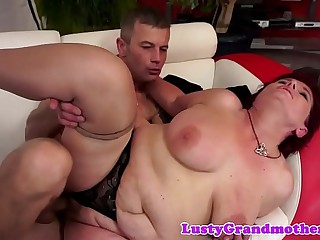 Amateur grandma in stockings gets fucked hard