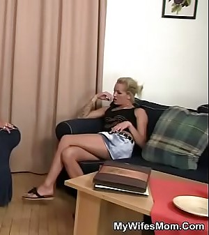 Old mother sucks and rides his cock