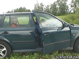 They pick up grandma and fuck outside