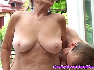 Doggystyled euro grandma enjoys outdoor sex