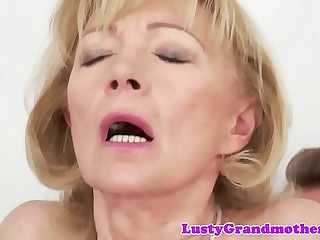 Obscene granny likes getting drilled