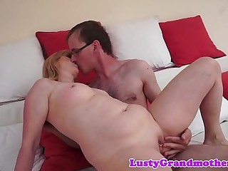 Cock riding granny swallows warm jizz
