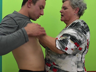 Chubby Granny Widens Her Legs For The Fit Boy To Fuck Her Hard
