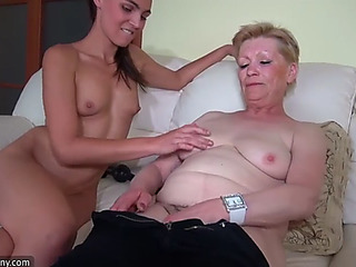 Old granny masturbating with juvenile hotty and her sex tool