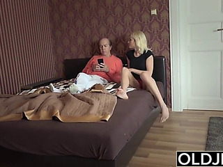 Youthful hotty seduces old dude that babe receives screwed lovely taut fur pie