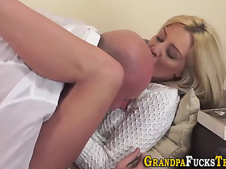 Legal Age Teenager receives old schlong facial cumshot