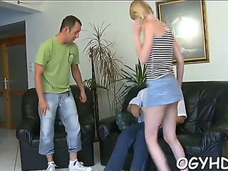 Youthfull hotty gives a blow to old knob