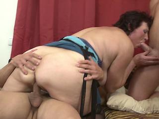 Lustful juvenile boyz gratifying aged big beautiful woman Dalia in threesome fearsomethreatening PornDoe