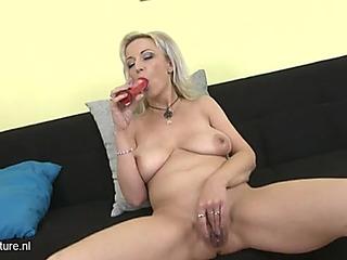Large saggy bazookas on a masturbating aged goldenhaired