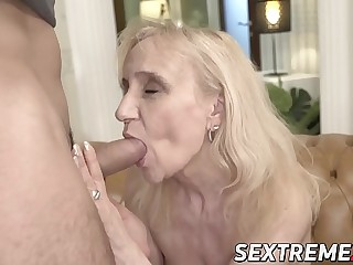 Grandma seduces junior stud into sultry sex
