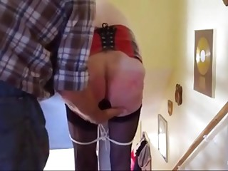 grandma lashed with a plug in her ass