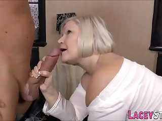Big-titted granny deep-throats and gets doggystyled