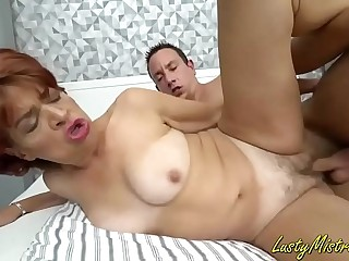 Granny enjoys to fuck hard with a fat dick