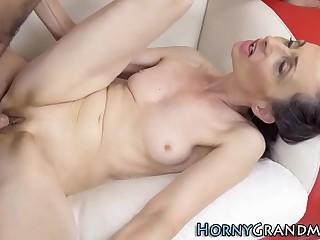 Cock sucking grandma facialized