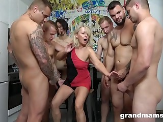 Very first Ever Grandma GangBang! Cum Everywhere!