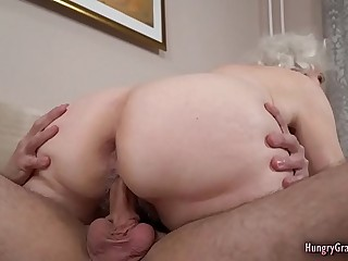 Grayhaired grandma hungry for hard cock