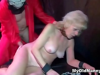 Fat blond grandma fucked by a horny shaved stud