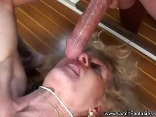 Pierced Dutch Granny Fuck