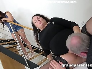 Grandpa fucks his fat wifey and stepdaughter