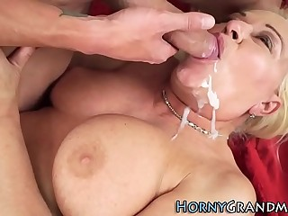 Grandmother fucks for cum