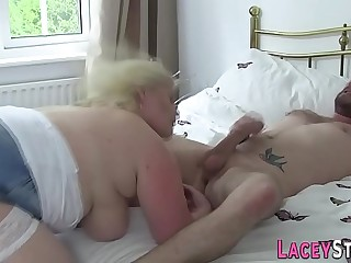 Blonde granny with big hooters fucks a big cock