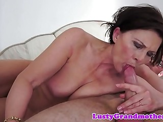 Chubby granny gets hairy pussy bitchy deeply