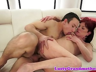 Redhead european granny gets spooned
