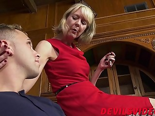 Skinny granny has hardcore sex with young boy plaything