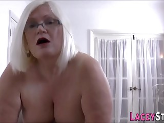Gran masseuse licks and rides cock