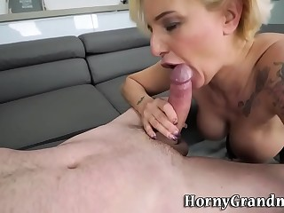 Tattooed granny gets pounded and licks