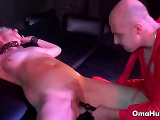 Guy with false big cock fucks granny hard