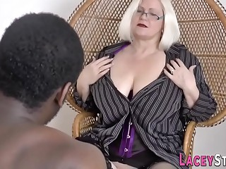 British gran in lingerie deep throats black cock